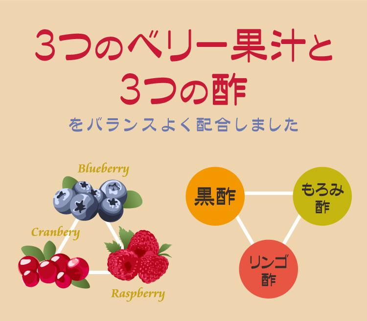 3つのベリー果汁と3つの酢